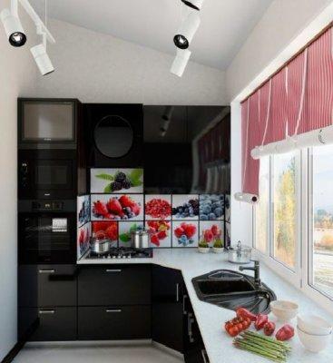 Кухня, полностью расположенная на балконе.